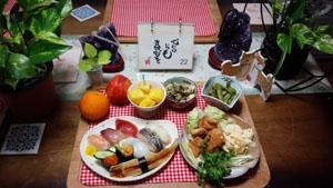 晩ご飯 お寿司と揚げ物