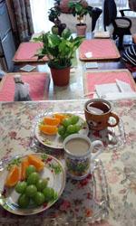 食後の果物 マスカットとオレンジ
