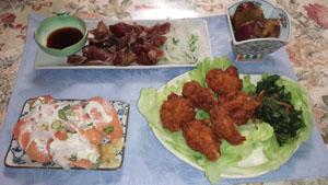 晩ご飯 唐揚げ・タタキ・サーモン寿司