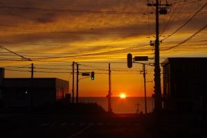 街中の夕日