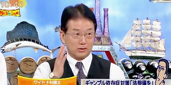 ワイドナショー画像 犬塚弁護士 日本では賭博は違法だが、実態は建前と分かれている 2015年9月20日