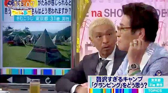 ワイドナショー画像 松本人志 ピーコ 虫嫌いの2人が「キャンプは嫌い」で意見が一致 2015年8月16日