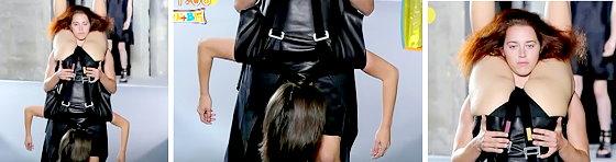 ワイドナショー画像 女性を逆さまに抱えるパリコレの奇抜を超えた変なデザイン 2015年10月18日