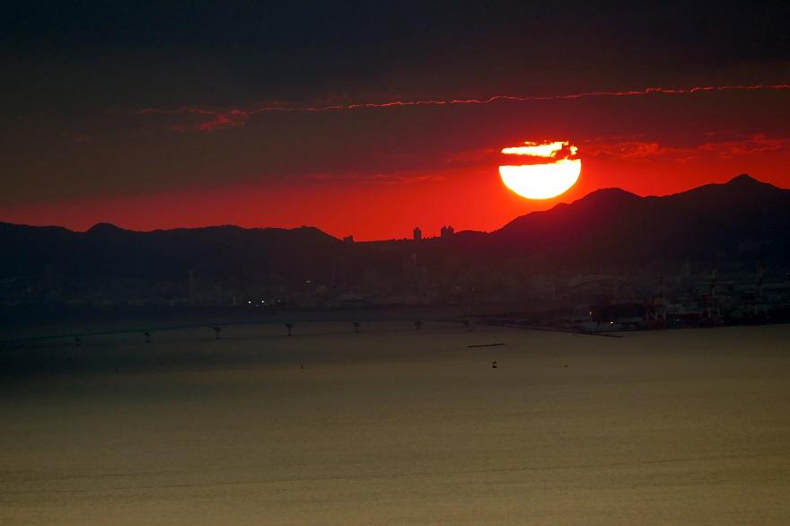 コスモタワーの夕景・夕陽 (1)