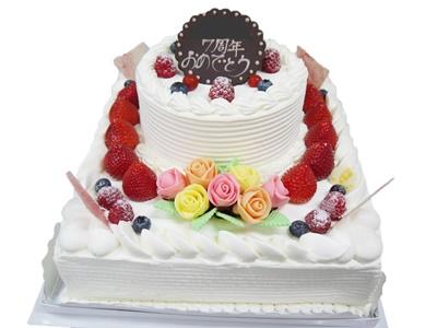 2段デコレーションケーキ 8号角型