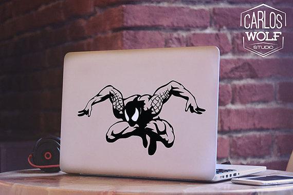 スパイダーマン_マックブックステッカー_macbook_etsy