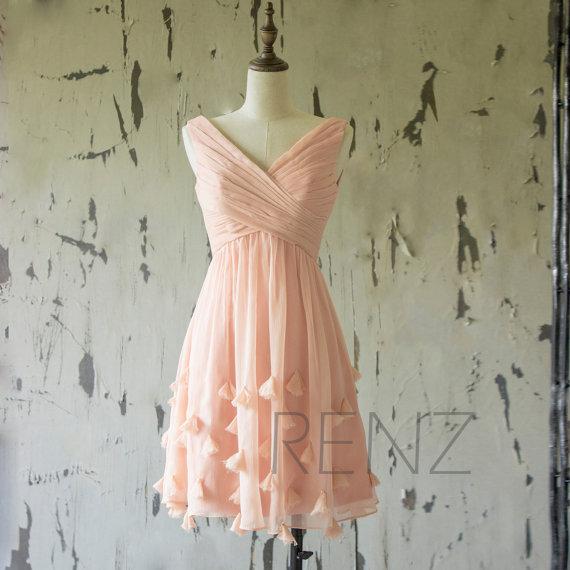 ペールピンクブライズメイドドレス