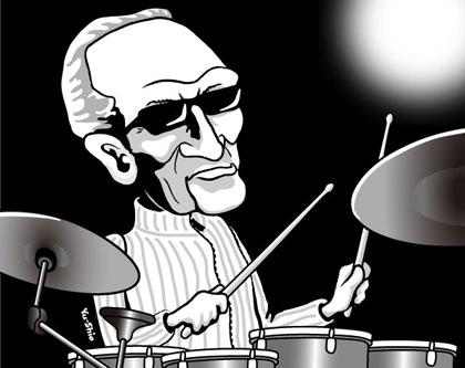 Ginger Baker caricature