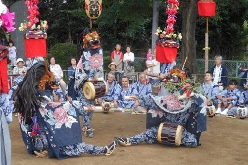 原馬室氷川神社獅子舞棒術②20150823
