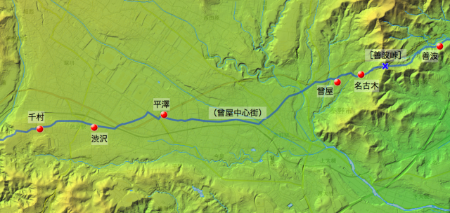 矢倉沢往還:大住郡中の村々の位置(西半分)