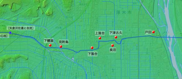柏尾通り大山道:大住郡中の各村の位置(東半分)