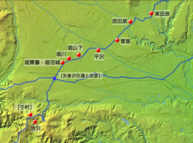 蓑毛通り大山道:大住郡中の各村の位置(南半分)