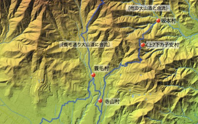 六本松通り大山道:大住郡中の各村の位置(北半分)