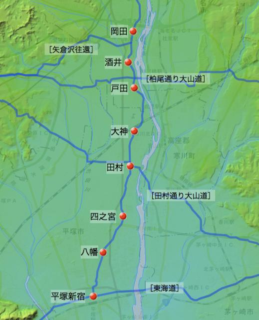 厚木八王子道:大住郡中の各村と交差する街道の位置