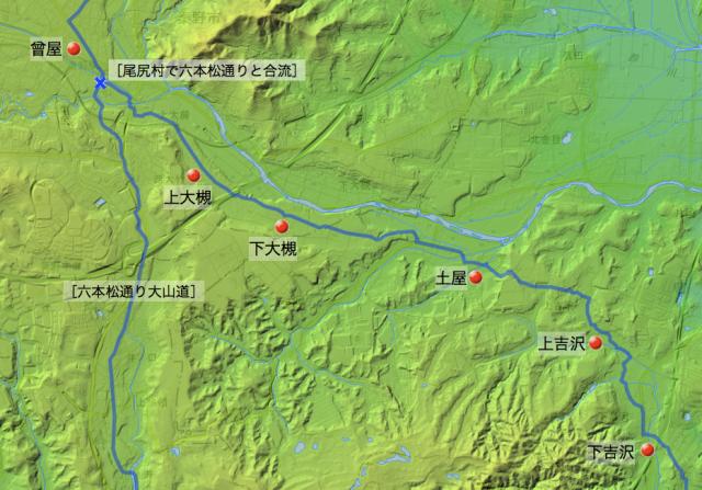 高麗寺波多野道:大住郡中の各村の位置