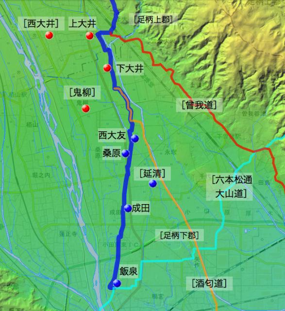 小田原道(蓑毛通り大山道):足柄上郡・足柄下郡各村の位置(南半分)