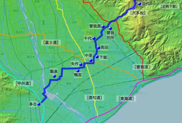 六本松通大山道:足柄上郡・足柄下郡各村の位置(南半分)