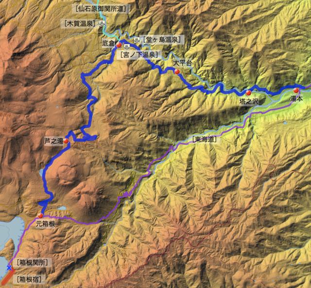 箱根温泉道:足柄下郡中の各村の位置