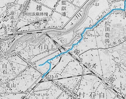 昭和3年地形図 白石川周辺 抜粋