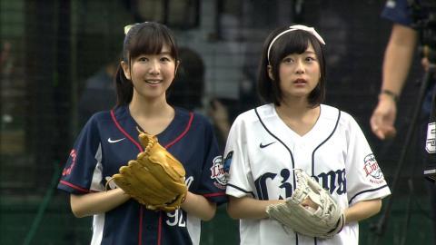 【プロ野球パ】「ここさけ」水瀬さんと「あの花」茅野さん、両声優によるW始球式 2015/09/13 L-M