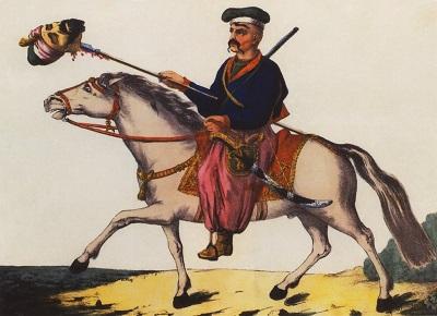 回教徒の頸を串指しにしている凱旋のウクライナ・コサック(ティモフィイ・カルィーンシクィイ、1786年の画像)