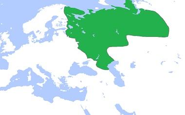 東に拡大するロシア(1600年頃)