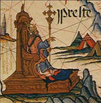 1558年に作成された世界地図上に描かれたプレスター・ジョン(プレステ・ジョアン)