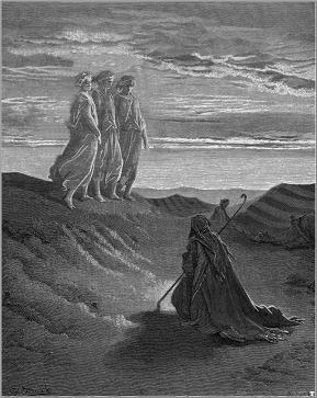 神の使いを迎えるアブラハム(『創世記』第18章)ドレ画