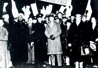 中華民国の上海に到着した国際連盟日支紛争調査委員会調査団一行