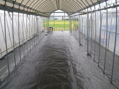 [写真]防草シートを張り終えたばかりの雨よけアーケードの様子
