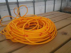 [写真]20cm間隔に赤印をつけたオレンジロープ